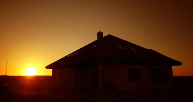 sunset silouhette house