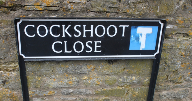 cockshoot rude street name sign funny